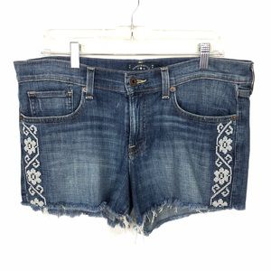 LUCKY BRAND Embroidered Cut Off Shorts Denim 25